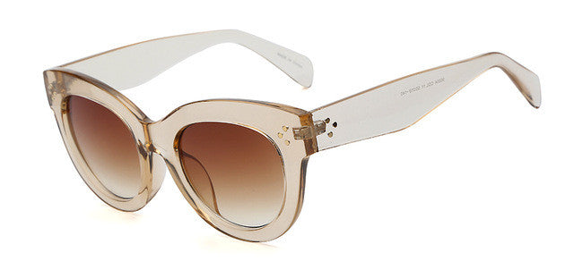 Female Audrey Look Fashion Retro Champagne Vintage Sunglasses with Brown Lenses