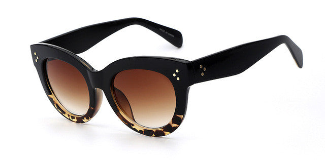 Female Audrey Look Fashion Retro Vintage Brown Sunglasses with Leopard Trim