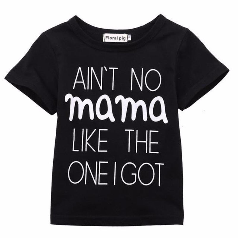 "Cute Baby ""Ain't No Momma Like The One I Got"" Short Sleeve Black T-Shirt Newborn"