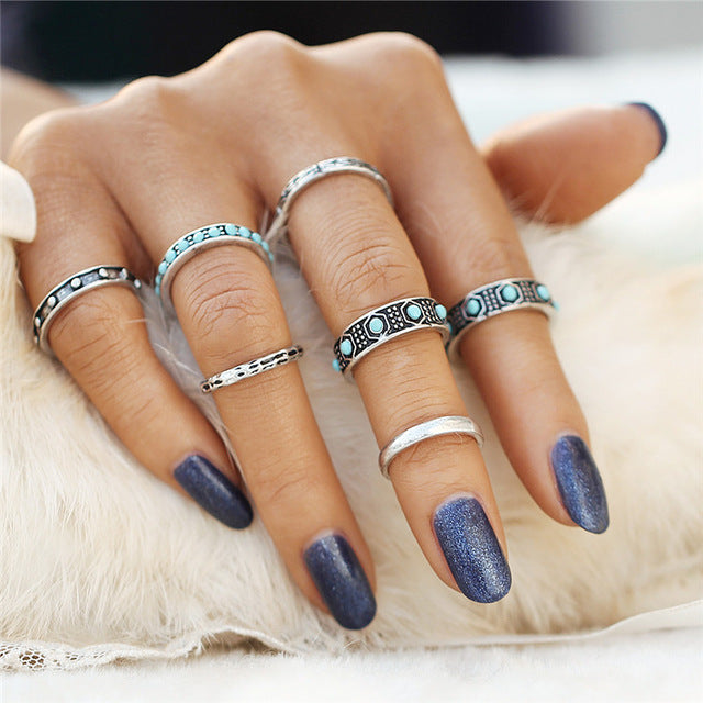 Beautiful Vintage Dainty Bar Blue Bead Tribal/Vintage Look 7pcs/Set Midi Rings Silver Tone