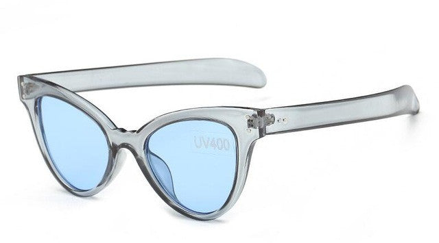 Women's Awesome Clear/Translucent Cat Eye Gray Sunglasses with Blue Lenses