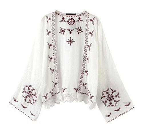 Women's Retro Embroidered Geometic Print Snow Flower Kimono Coverup with Lace Trim