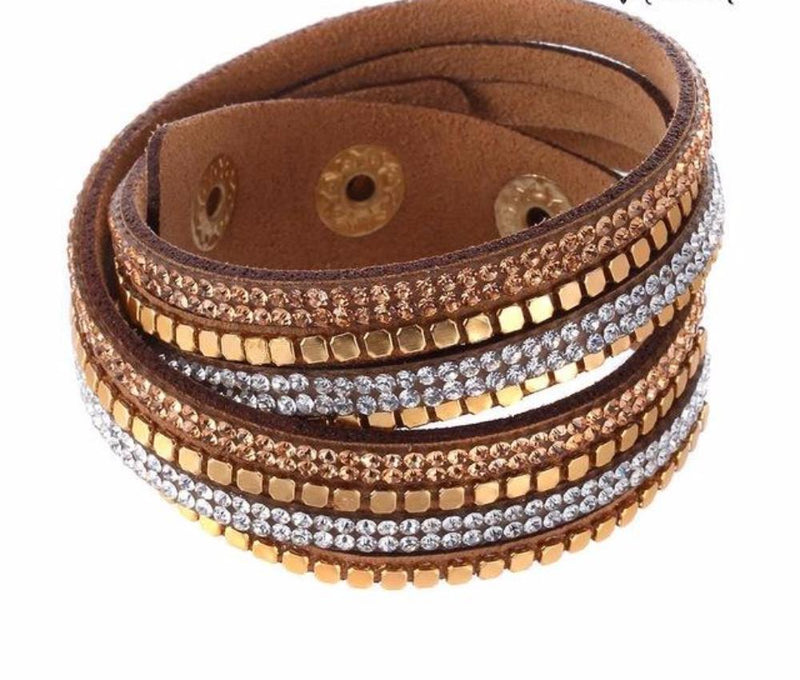 Awesome Brown Faux Leather Bracelet with Metal Studs and Crystal Beaded Detail