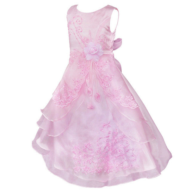 Little Girls Embroidered Light Pink Flower Girl/Pageant Dress Gown ...