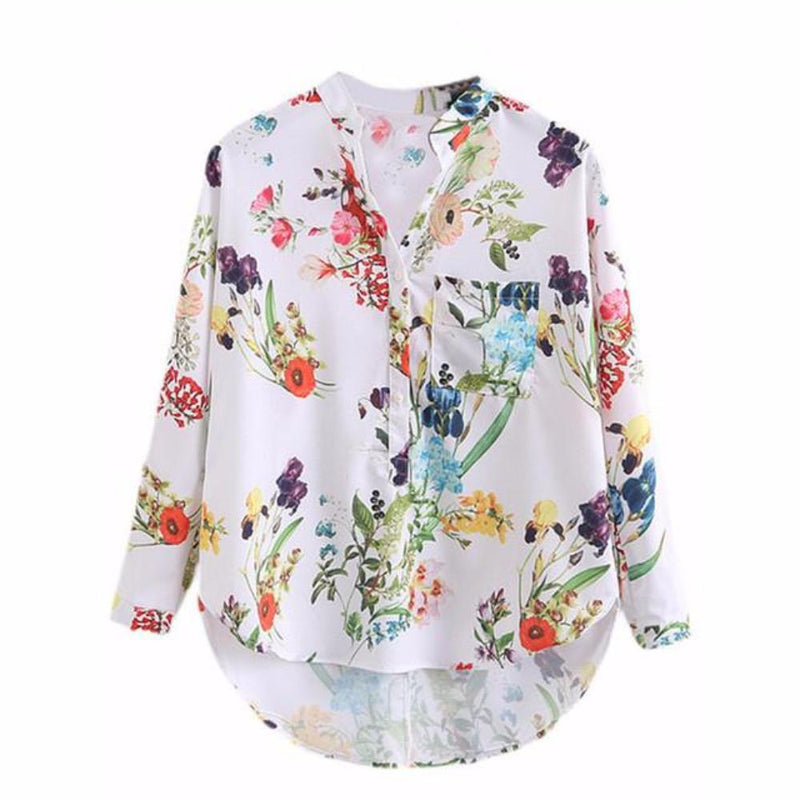 Ladies White Front Pocket Floral Print High Low Blouse Shirt