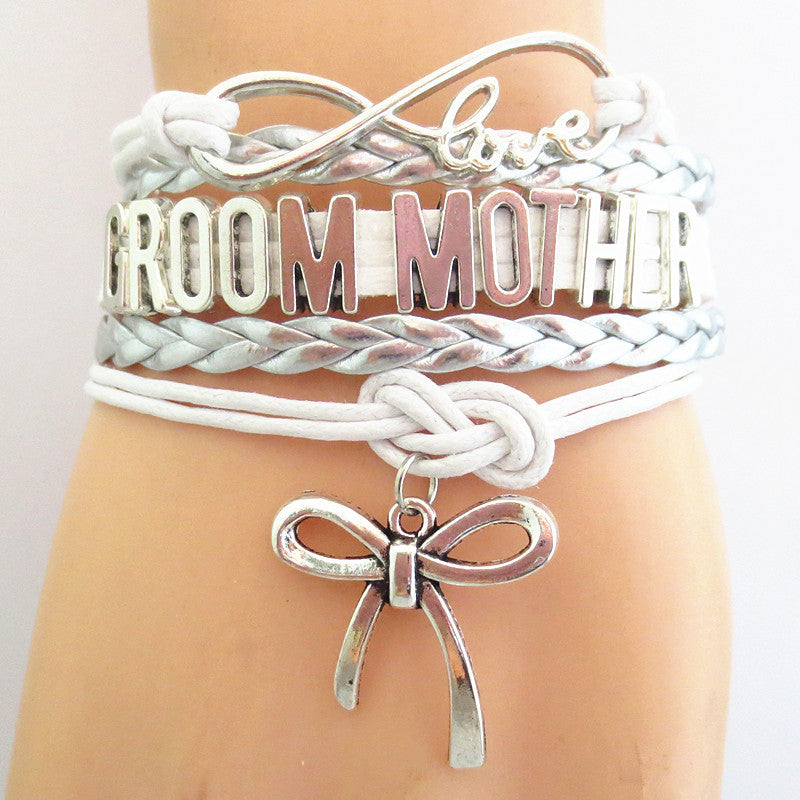 "Ladies ""Groom Mother"" Multi Layered Bracelet with Shoe High Heel Charm Silver Tone and Silver Braid"