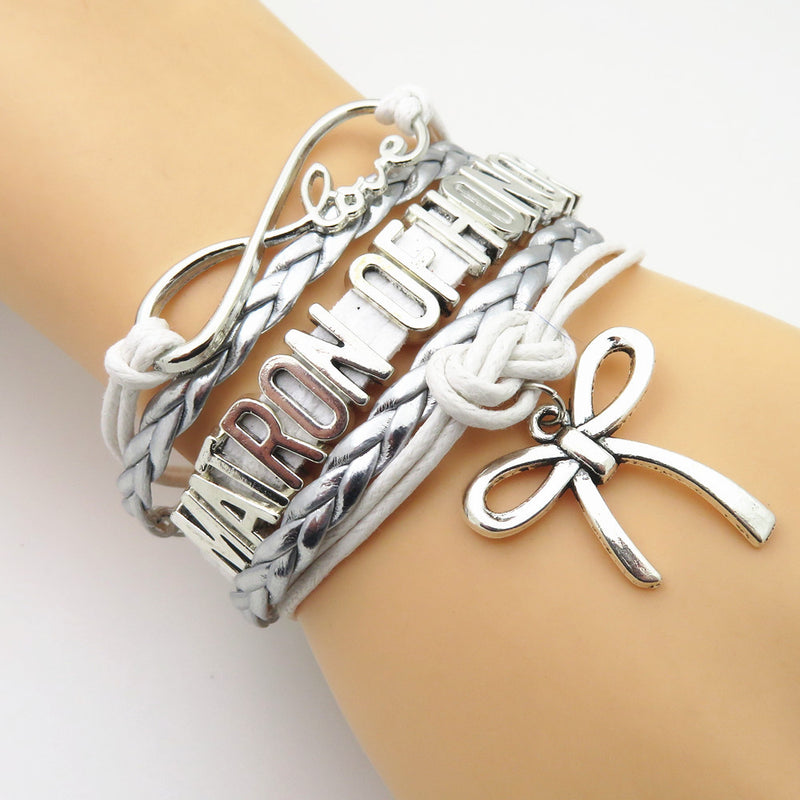 "Ladies ""Matron of Honor"" Multi Layered Bracelet with Shoe High Heel Charm Silver Tone and Silver Braid"