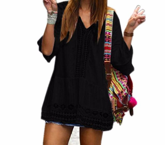 Women's Bohemian Style Black Summer Beach Bathing Suit Cover Up Tunic Dress Top