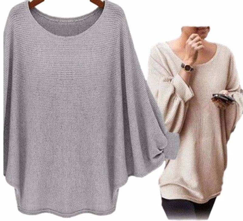Women's Gray Exaggerated Sleeve Poncho Oversized T Shirts Top