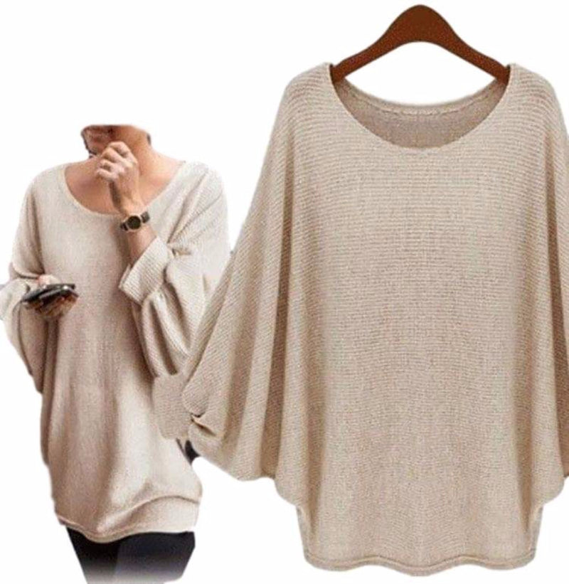 Women's Beige/Khaki Exaggerated Sleeve Poncho Oversized T Shirts Top