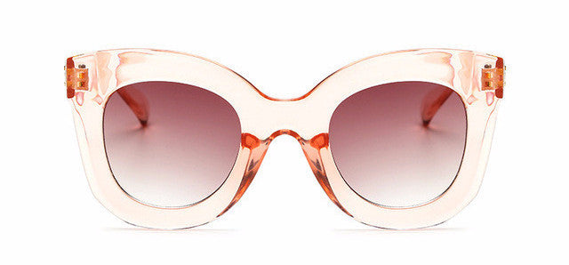 Women's Awesome Vintage Large Clear Pink Round Style Cat Eye Sunglasses