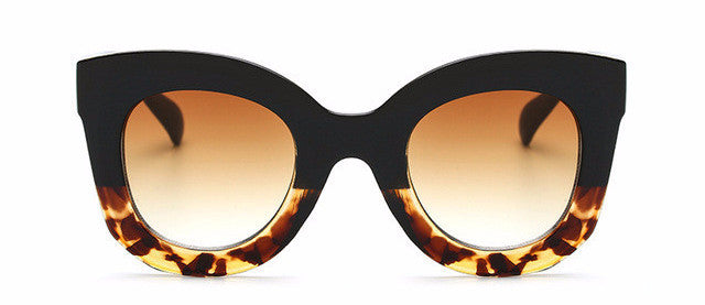 Women's Awesome Vintage Large Black/Brown Tortis Round Style Cat Eye Sunglasses