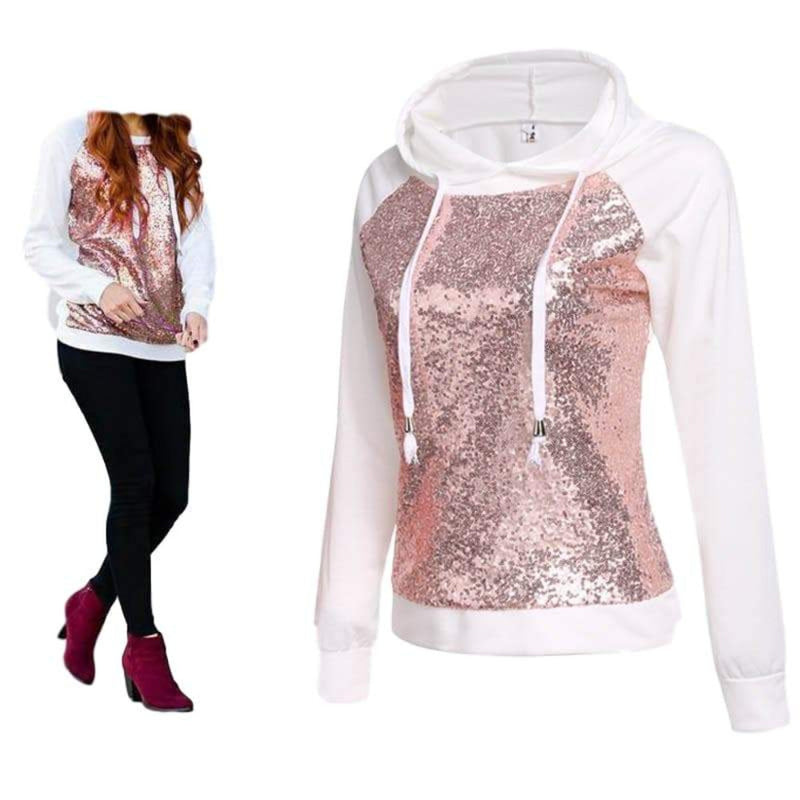 Women's Winter White Sweatshirt with Rose Gold Sequin Long Sleeve Top with Hood