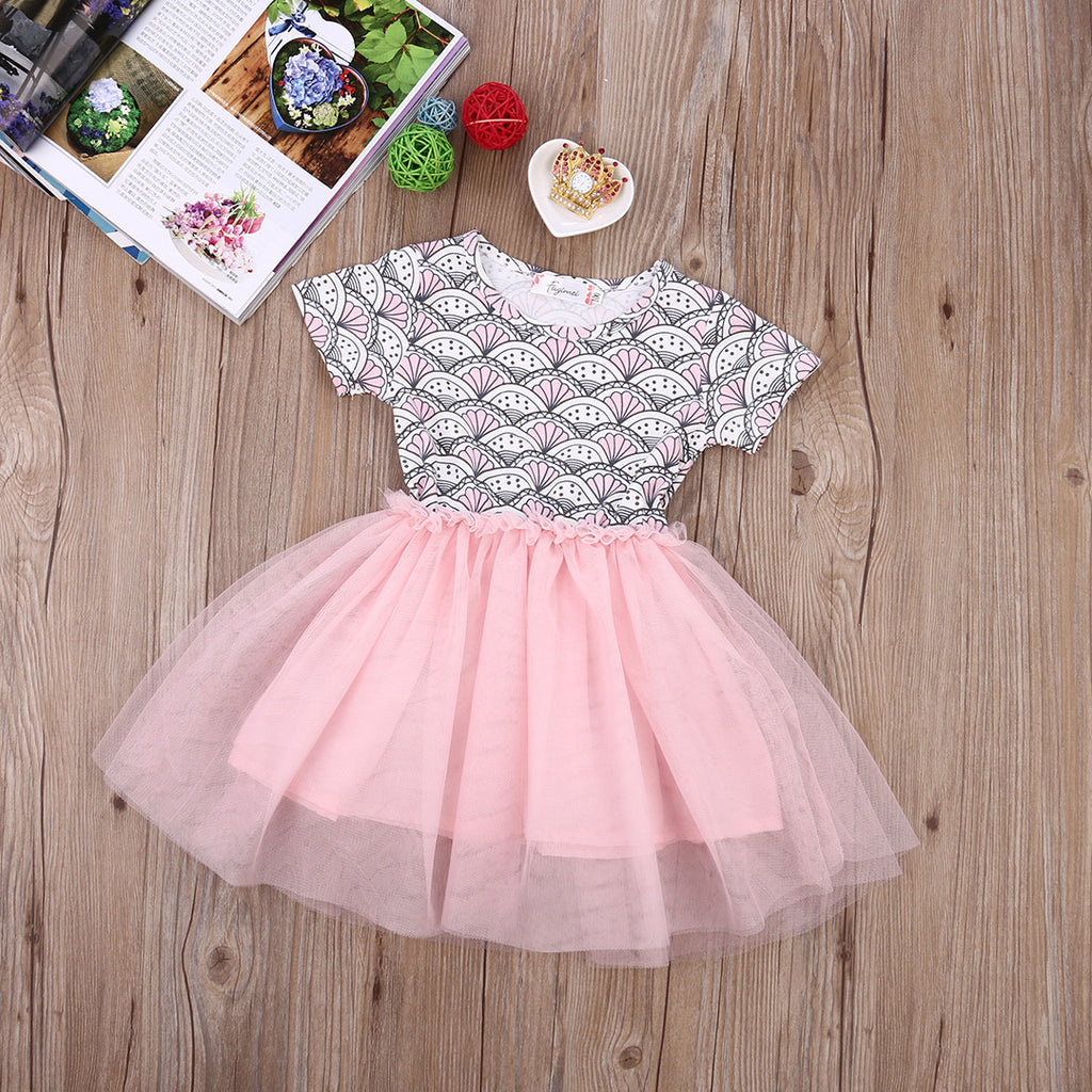 Toddler Girl/Baby Shell Print Dress with Pink Tulle Skirt