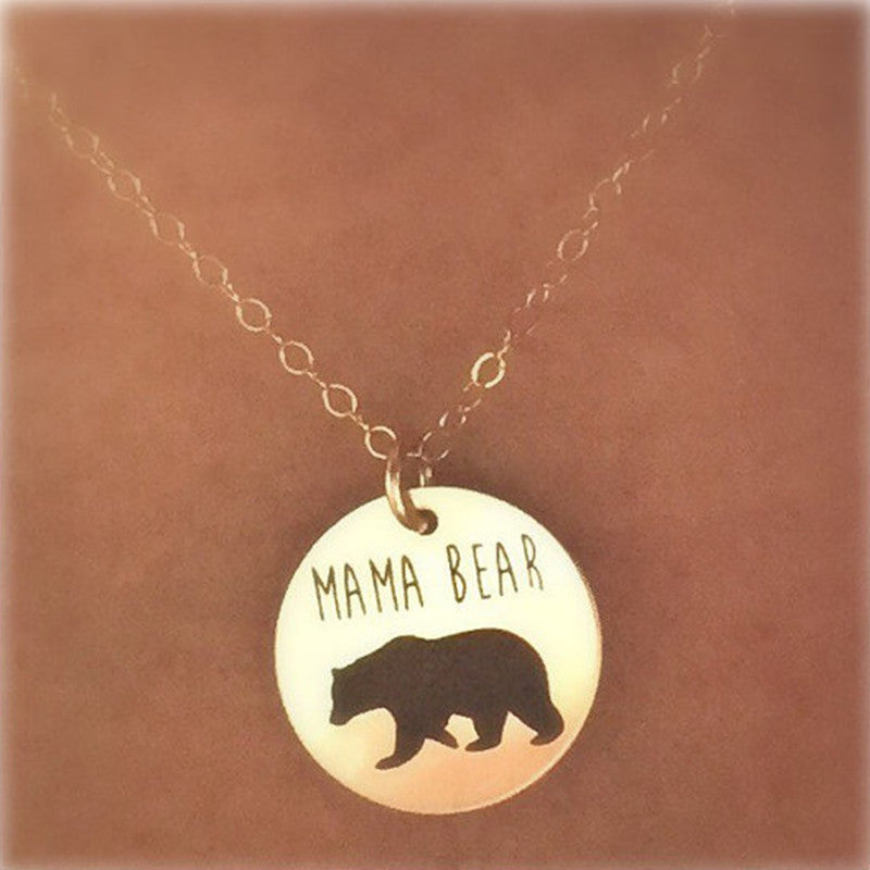 Round Cutout Mama Bear Charm Pendant Necklace Gold Tone