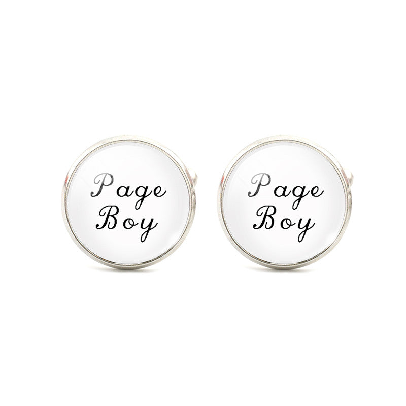 """Page Boy"" Graphic Print Mens Cuff Links Silver Tone"