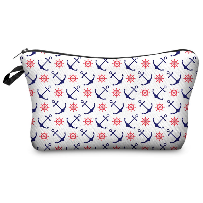 Sweet White with Navy/Red Anchor Ship Wheel Printed Zippered Cosmetic Bag
