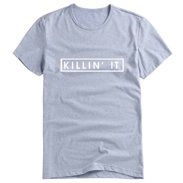 "Fun ""Killin' It"" Light Gray Short Sleeve Printed T-Shirt Top"