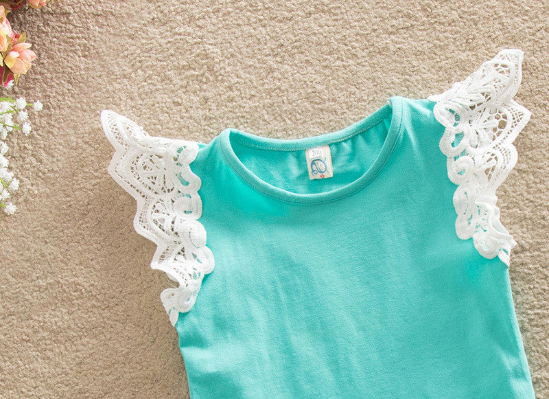 Baby Toddler Girls Mint Green Summer Casual Short Sleeve T-Shirt Top with Lace Arms NB to 3T