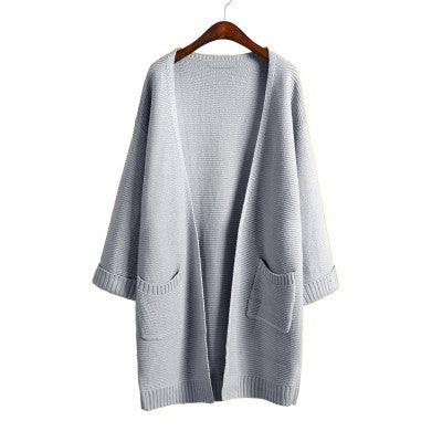 Gray Casual Long Knitted Cardigan Sweater Jacket with Pockets