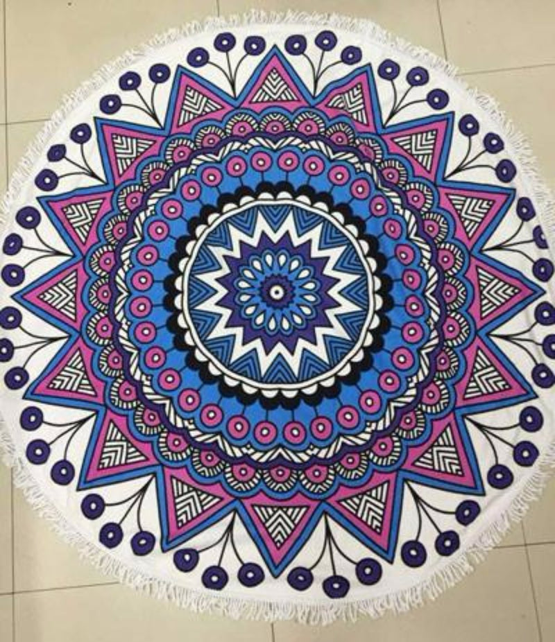 Fun Printed Microfiber Purple Blue White Mandala Indian Print Large Round Beach Towel Blanket with Fringe