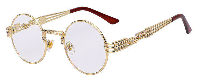 Awesome Gothic Unisex Men/Women Gold with White/Clear Lenses Steampunk Round Metal Twisted Frame Sunglasses