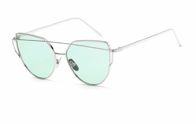 Women's Cat Eye Aviator Style Silver Metal Framed Designer Sunglasses with Green/Seafoam Mirrored Lenses