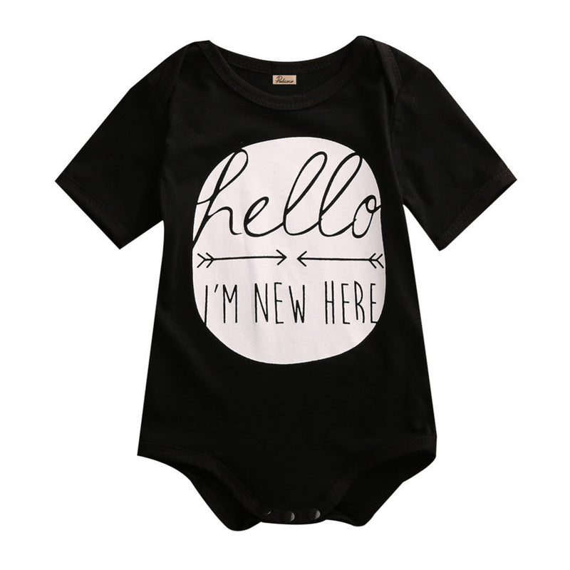 "Newborn Baby Boys/Girls ""Hello I'm New Here"" Black Short Sleeve Onesie Bodysuit"