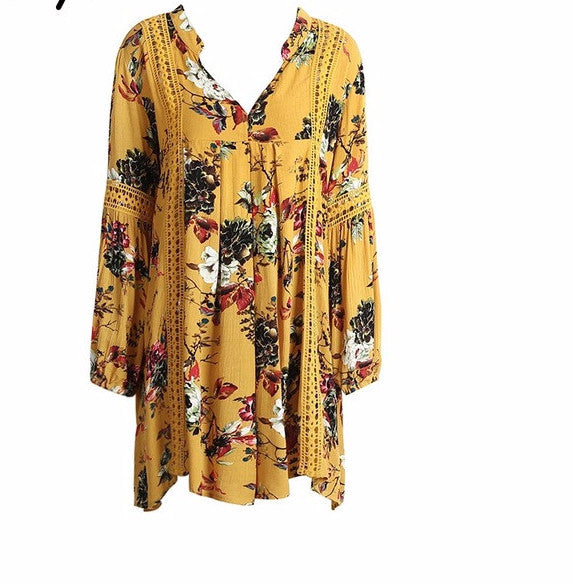 Women's Gorgeous BOHO Yellow Floral Print Lantern Puff Sleeve Fashion Tunic Top/Mini Dress