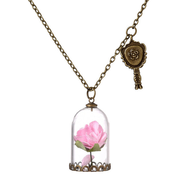 Lovely light pink rose in glass vile pendant charm necklace fashion lovely light pink rose in glass vile pendant charm necklace fashion vintage look gold tone audiocablefo