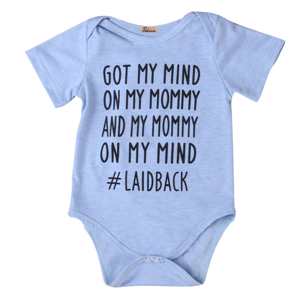 "Baby Boy/Girl ""Got My Mind On My Mommy and My Mommy On My Mind #Laidback""  Graphic Printed Short Sleeve Onesie Bodysuit"