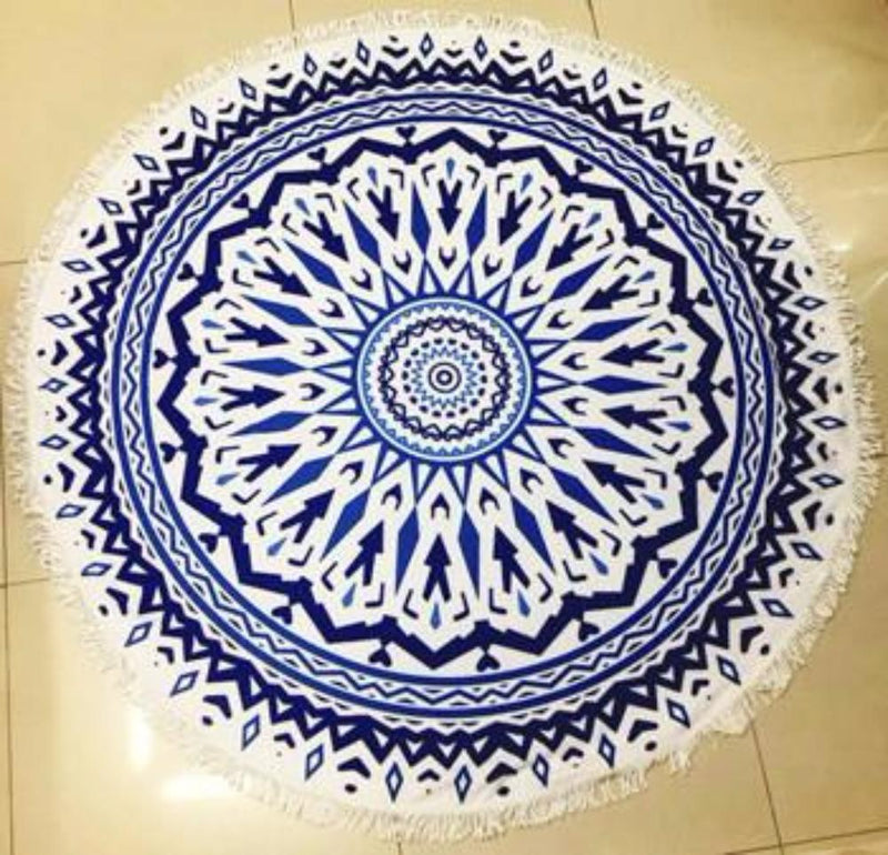 Fun Printed Microfiber Blue/White Medallion Large Round Beach Towel Blanket with Fringe Beach Vacation Summer