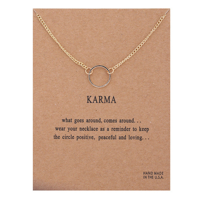 "Lucky Circle ""Karma"" Carded Make a Wish Charm Message Necklace"