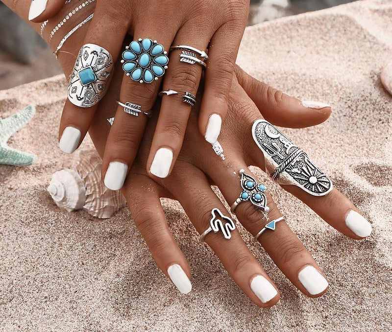 Beautiful Vintage Flower Arrow Cactus Blue Aztec Tribal Look 9pcs/Set Midi Rings Antique Silver Tone