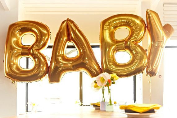 """Baby"" Gold Foil Letter Balloons Set Baby Shower Decoration"