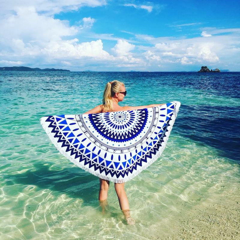 Awesome Geometrical Navy Blue White Diamond Print Round Beach Towel Blanket With Tassels