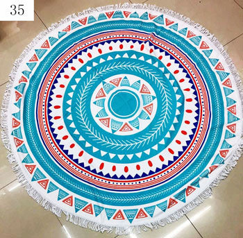 Fun Printed Teal Blue Round Tribal Print Microfiber Large Round Beach Towel Blanket with Fringe