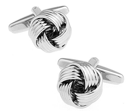 Mens Knotted Cufflinks Silver Tone