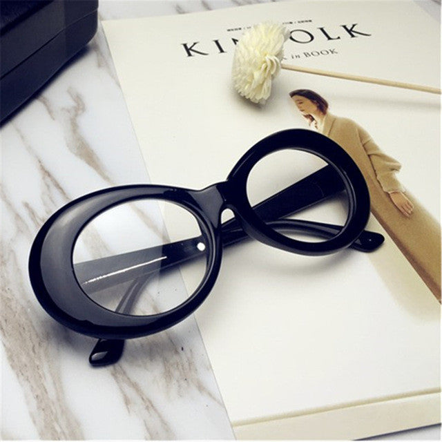 Women's Awesome Round Retro Style Large Oval Black Frame Glasses with Clear Lense