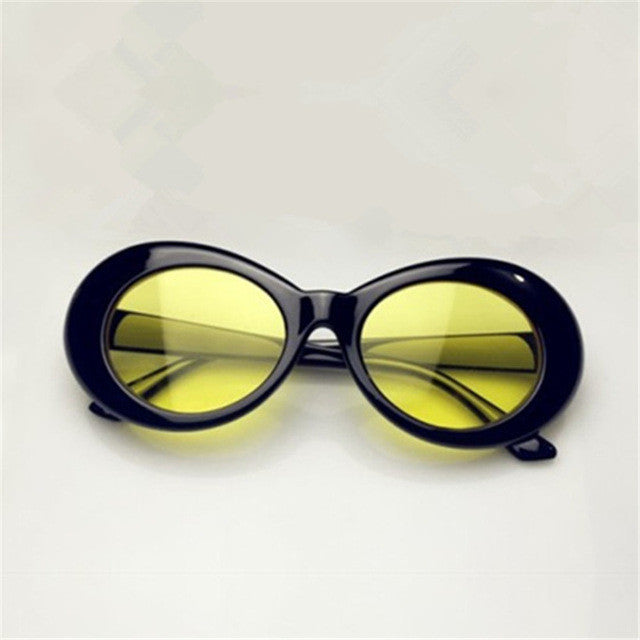Women's Awesome Round Retro Style Large Black Oval Frame Sunglasses with Yellow Lense