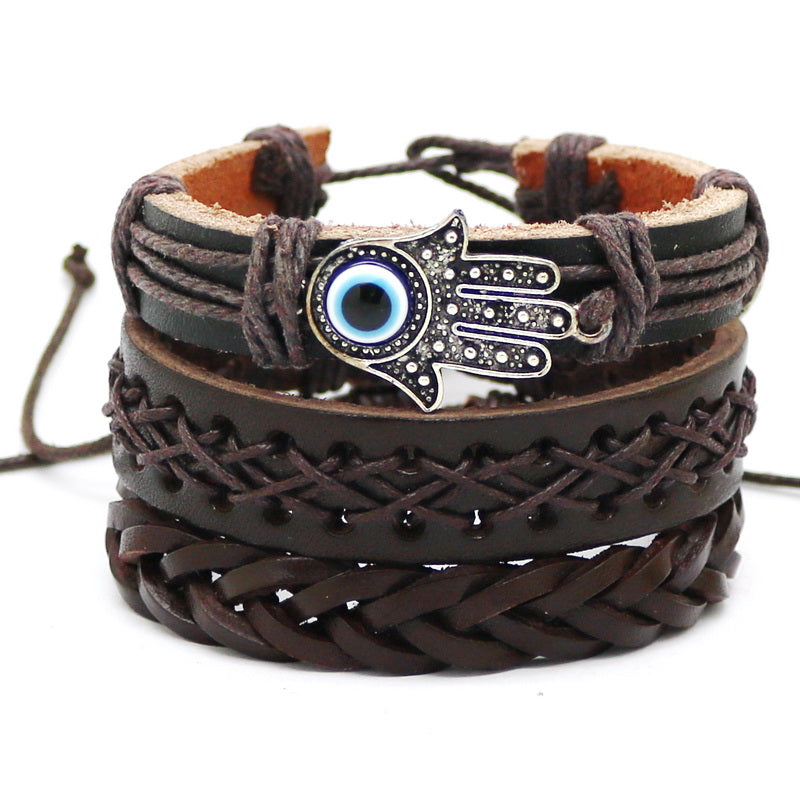 Awesome Set of 3 Faux Brown Leather Hamsa Braided Bracelet