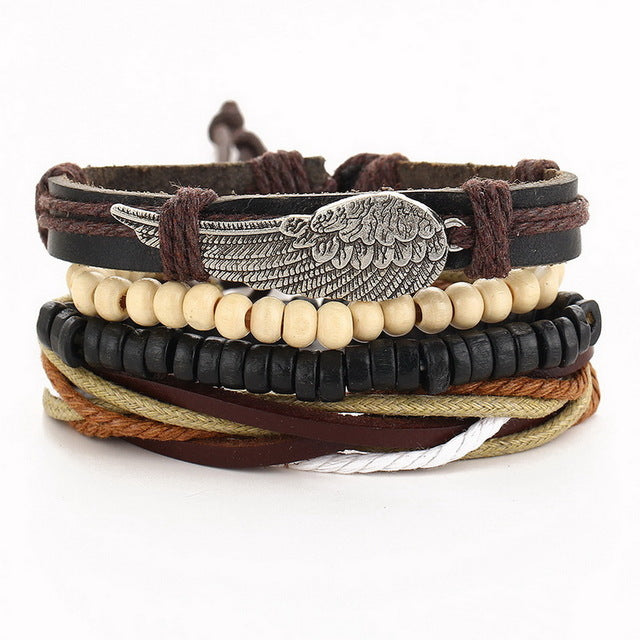 Awesome Set of 4 Faux Brown Leather Angel Wing Braided Bracelet