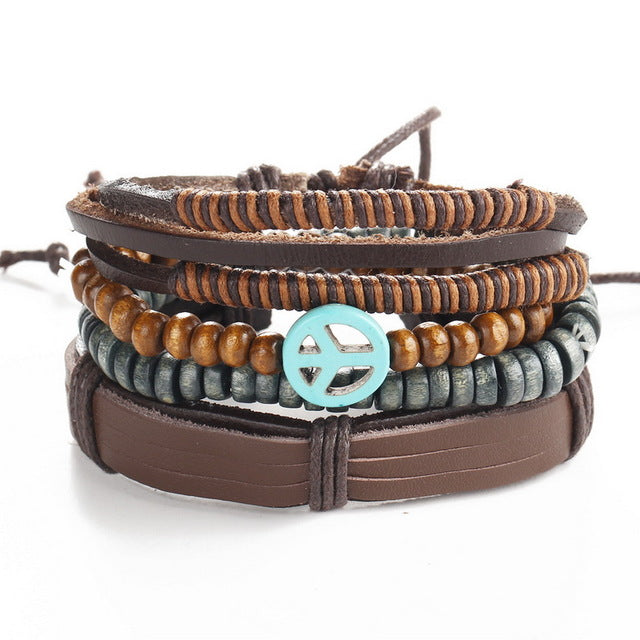 Awesome Stacked Peace Sign and Wood Beaded Faux Brown Leather Bracelet