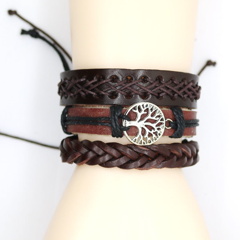 Awesome Set of 3 Faux Brown Leather Tree of Life Braided Bracelet