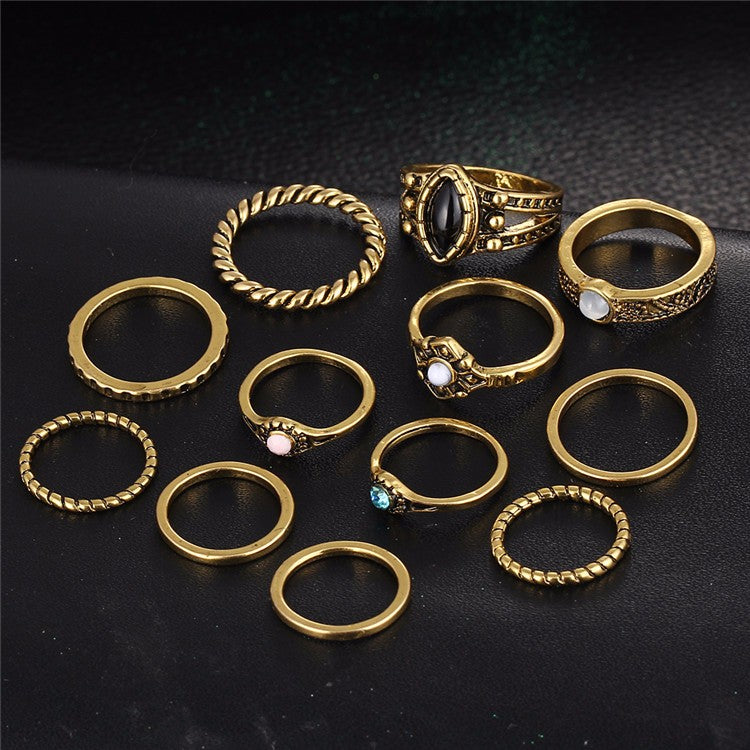 Set of 12pcs Vintage Look Knuckle Midi Rings Set Antique Gold Tone