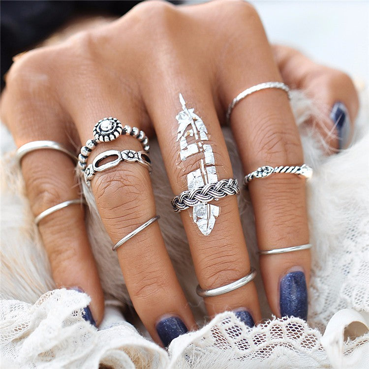 Beautiful Vintage Dainty Geometric Band Tribal/Vintage Look 10pcs/Set Midi Rings Silver Tone