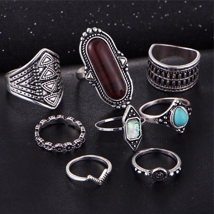 Beautiful Black/Blue Vintage Tribal/Vintage Look 8pcs/Set Midi Knuckle Rings Antique Silver Tone