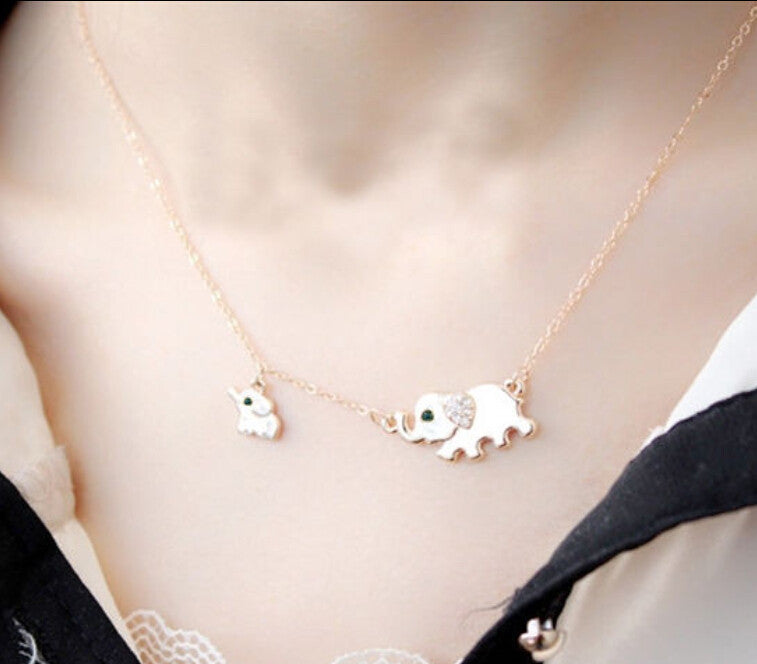 Cute Elephant Family Crystal Chain Necklace Chocker Necklace Gold Tone