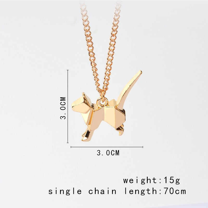 Cute origami cat kitty pendant necklace gold tone saliceshop cute origami cat kitty pendant necklace gold tone aloadofball Image collections