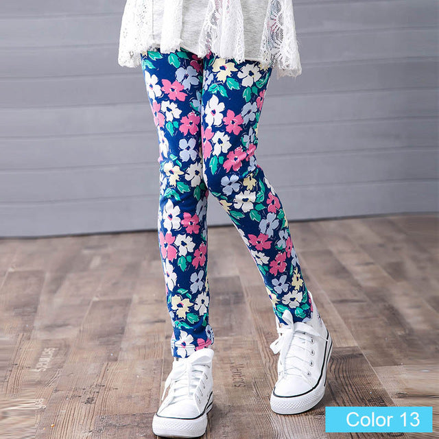 Adorable Little Toddler Girls Navy Daisy Flower Printed Leggings Pants